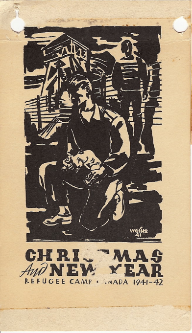 Christmas & New Year card, refugee camp 1941-42 - Werner Leo Schott.